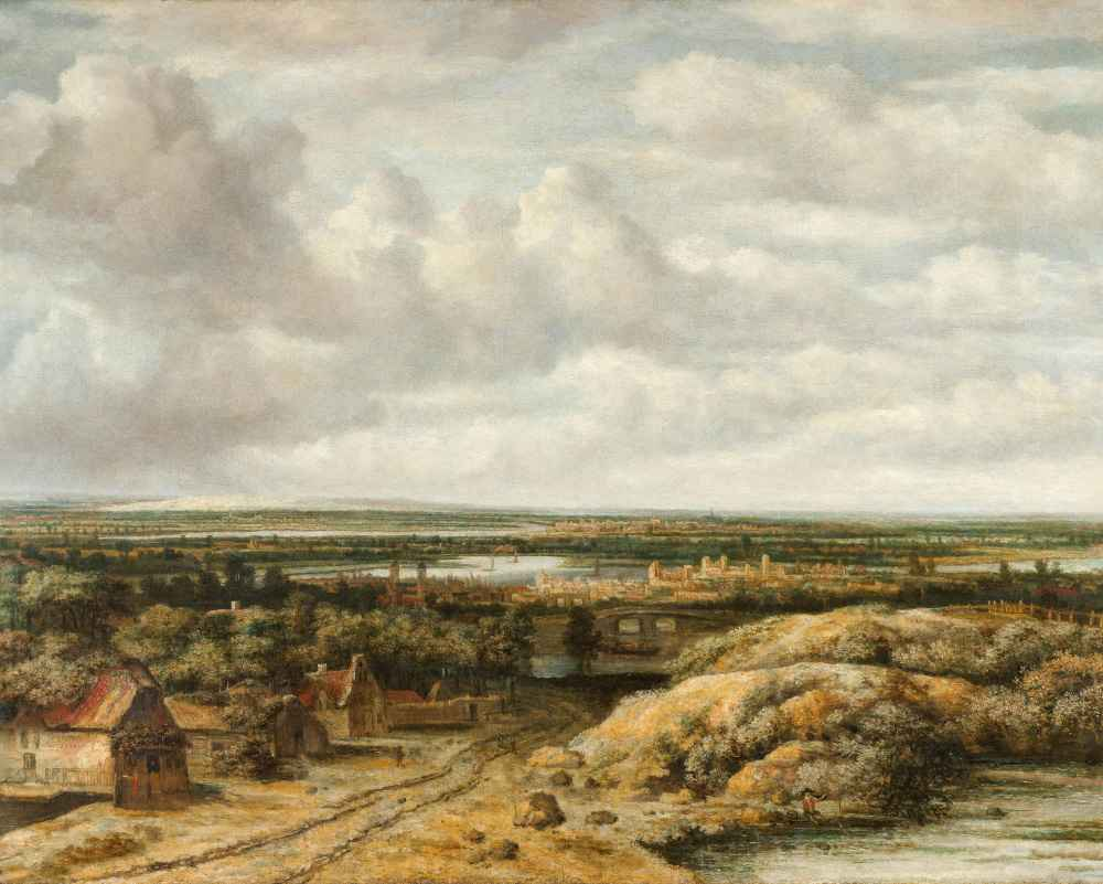 Distant View with Cottages along a Road - Philips Koninck
