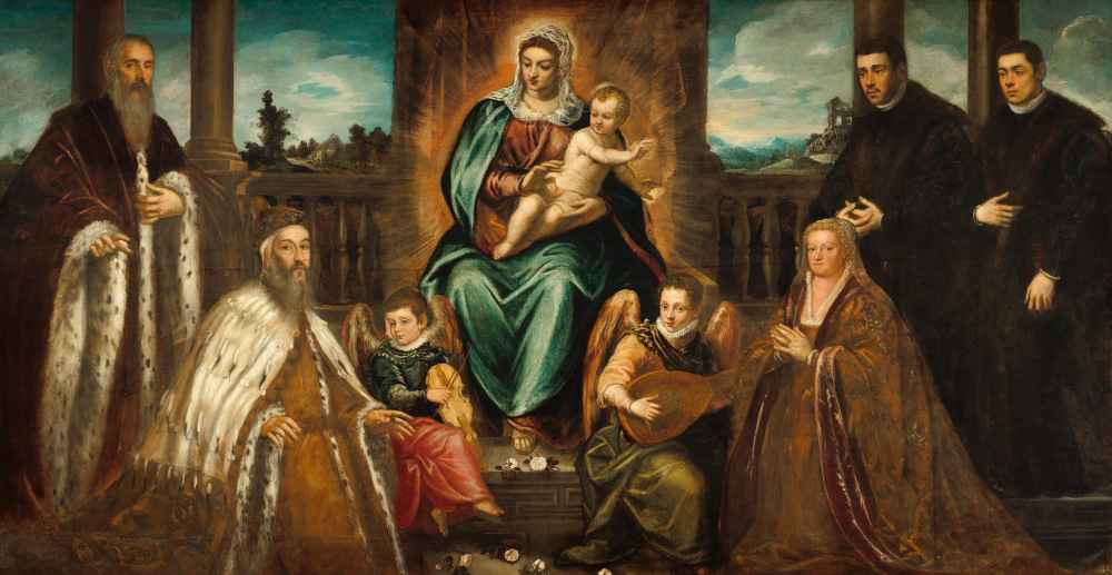 Doge Alvise Mocenigo and Family before the Madonna and Child - Jacopo