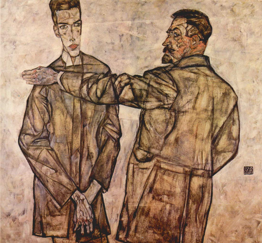 Double Portrait of Heinrich Bensch and his Son Otto - Schiele