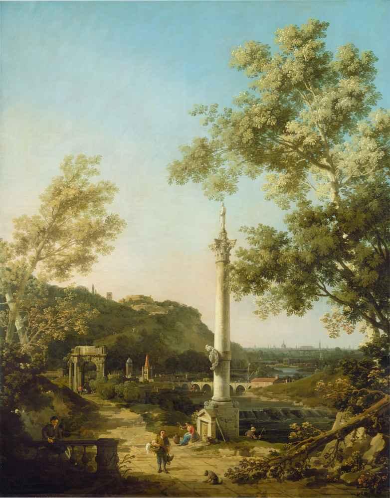 English Landscape Capriccio with a Column - Canaletto - Bernardo Bello