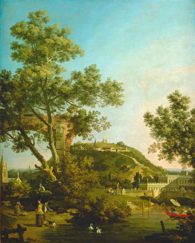 English Landscape Capriccio with a Palace - Canaletto - Bernardo Bello
