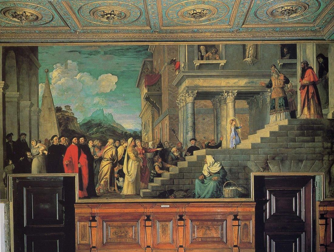 Entry of Maria in the temple - Titian