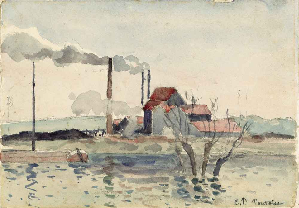 Factory on the Oise at Pontoise - Camille Pissarro