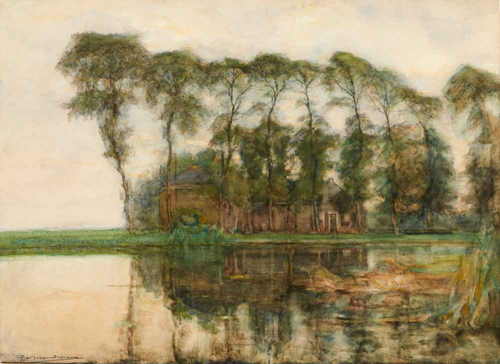 Farmstead Along the Water Screened by Nine Tall Trees - Piet Mondrian