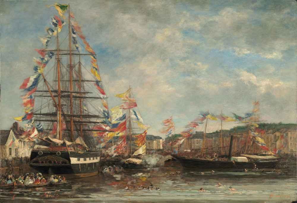 Festival in the Harbor of Honfleur - Eugene Boudin