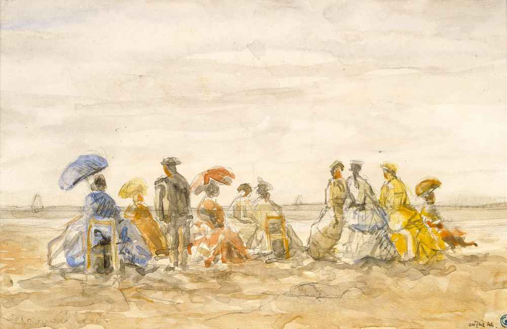 Figures on the Beach at Trouville - Eugene Boudin
