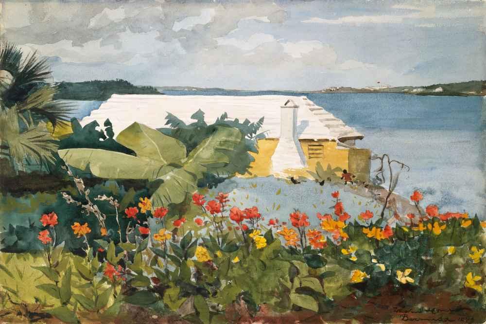 Flower Garden and Bungalow, Bermuda - Winslow Homer