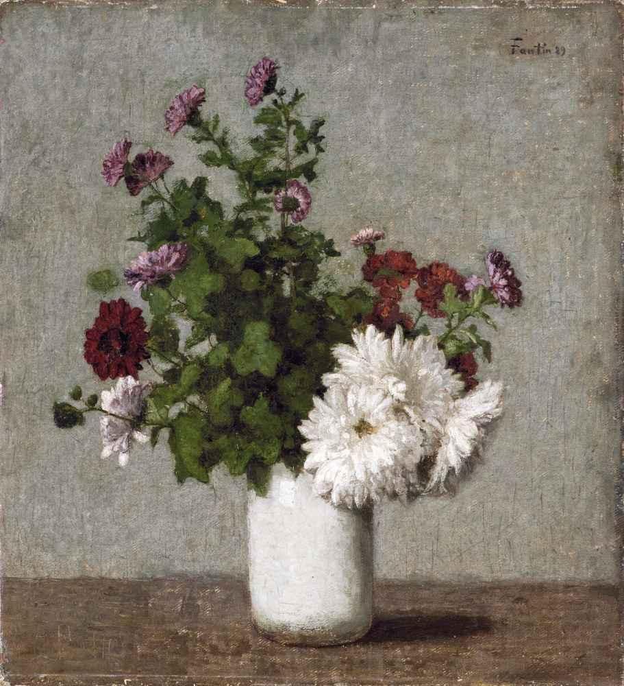 Flower Still Life - Autumn Chrysanthemums in a White Vase - Henri Fant