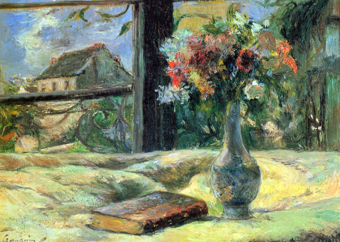 Flower Vase in Window - Gauguin