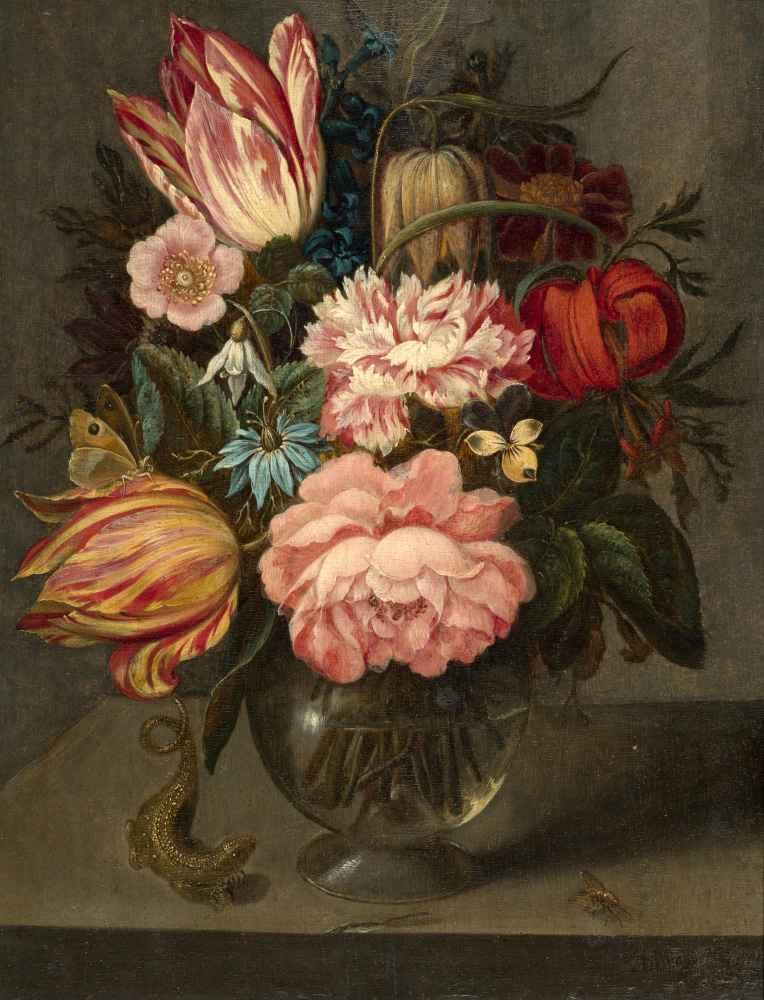 Flowers in a Glass Vase - Ambrosius Bosschaert