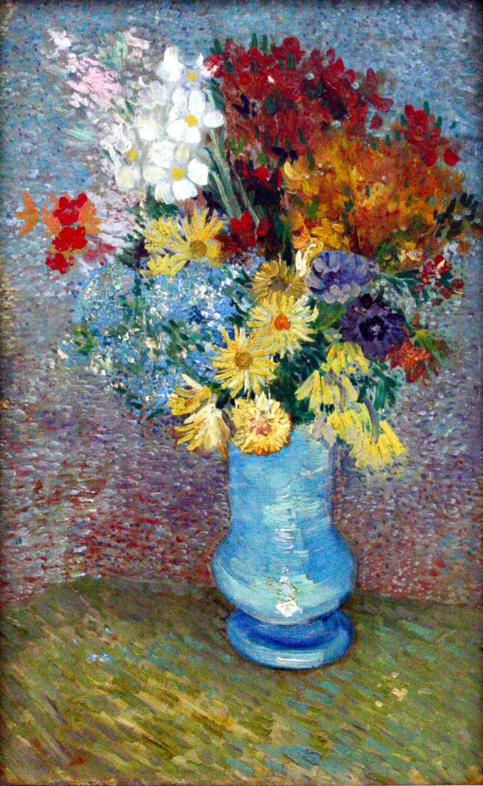 Flowers in a blue vase - Van Gogh