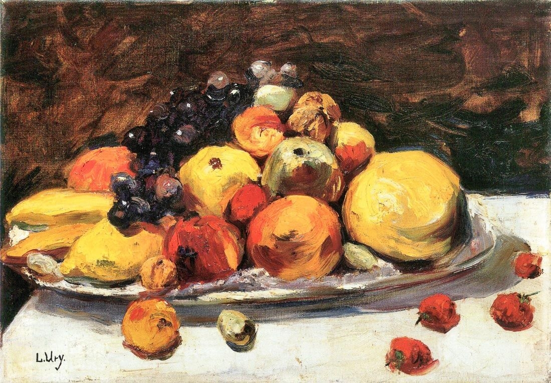 Fruit still life on a white blanket - Lesser Ury