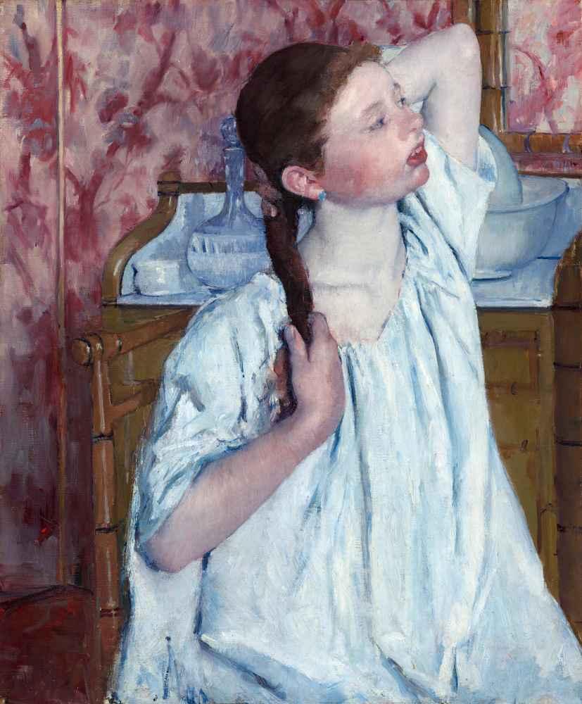 Girl Arranging Her Hair 2 - Mary Cassatt