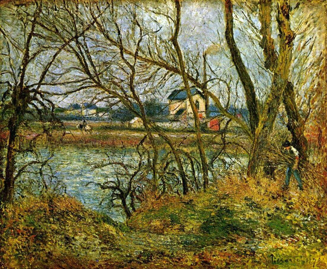 Grey day on the banks of the Oise at Pontoise - Pissarro