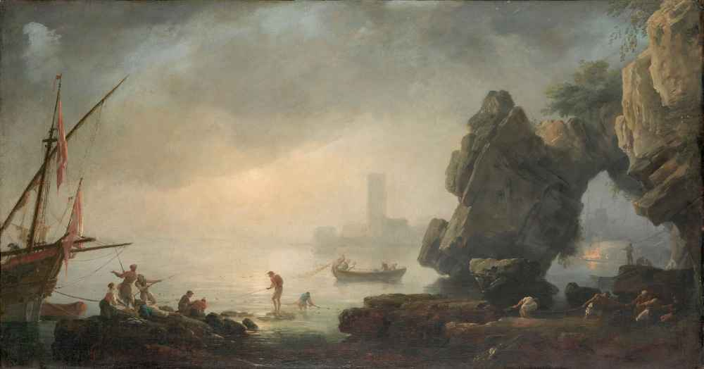 Harbor Scene with a Grotto and Fishermen Hauling in Nets - Claude Jose