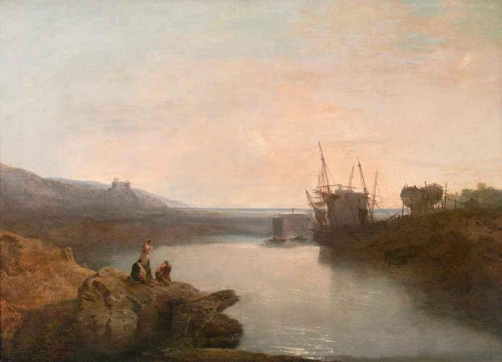 Harlech Castle, from Tygwyn Ferry, Summers Evening Twilight - Joseph M
