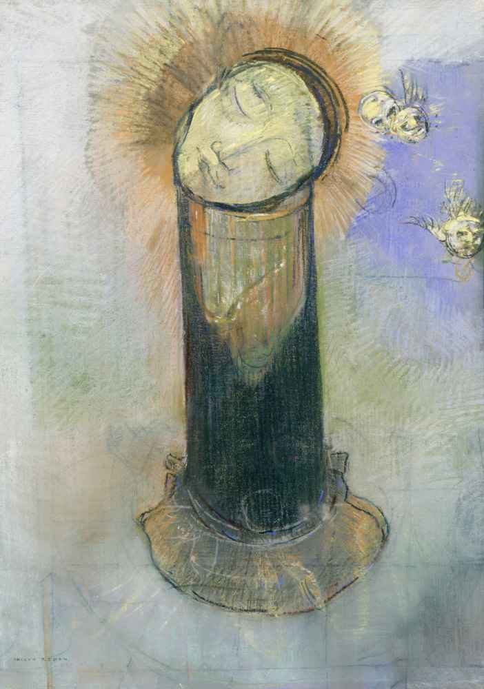 Het hoofd van Johannes de Doper, op een pilaar - Odilon Redon