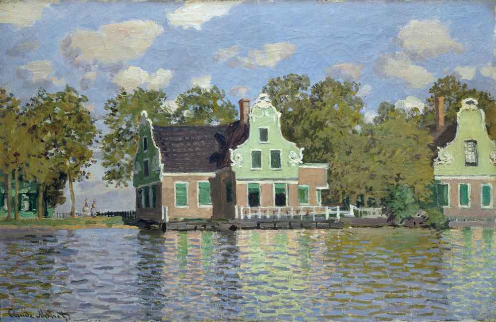 Houses by the Bank of the River Zaan - Claude Monet