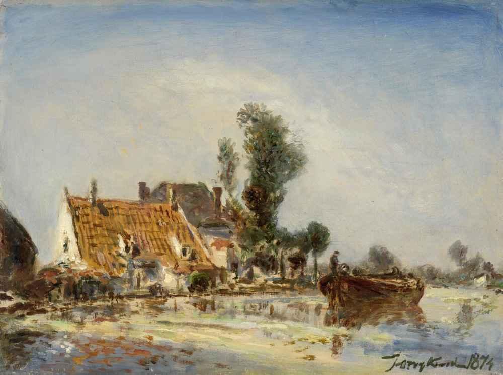 Houses on a Waterway near Crooswijk - Johan Barthold Jongkind