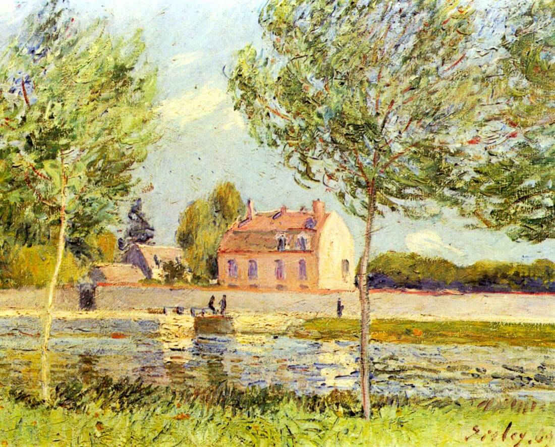 Houses on the banks of the Loing - Sisley