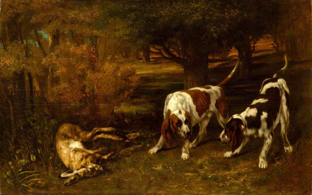 Hunting Dogs with Dead Hare - Gustave Courbet