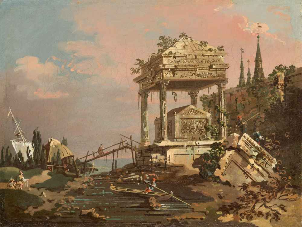 Imaginary View with a Tomb by the Lagoon - Canaletto - Bernardo Bellot