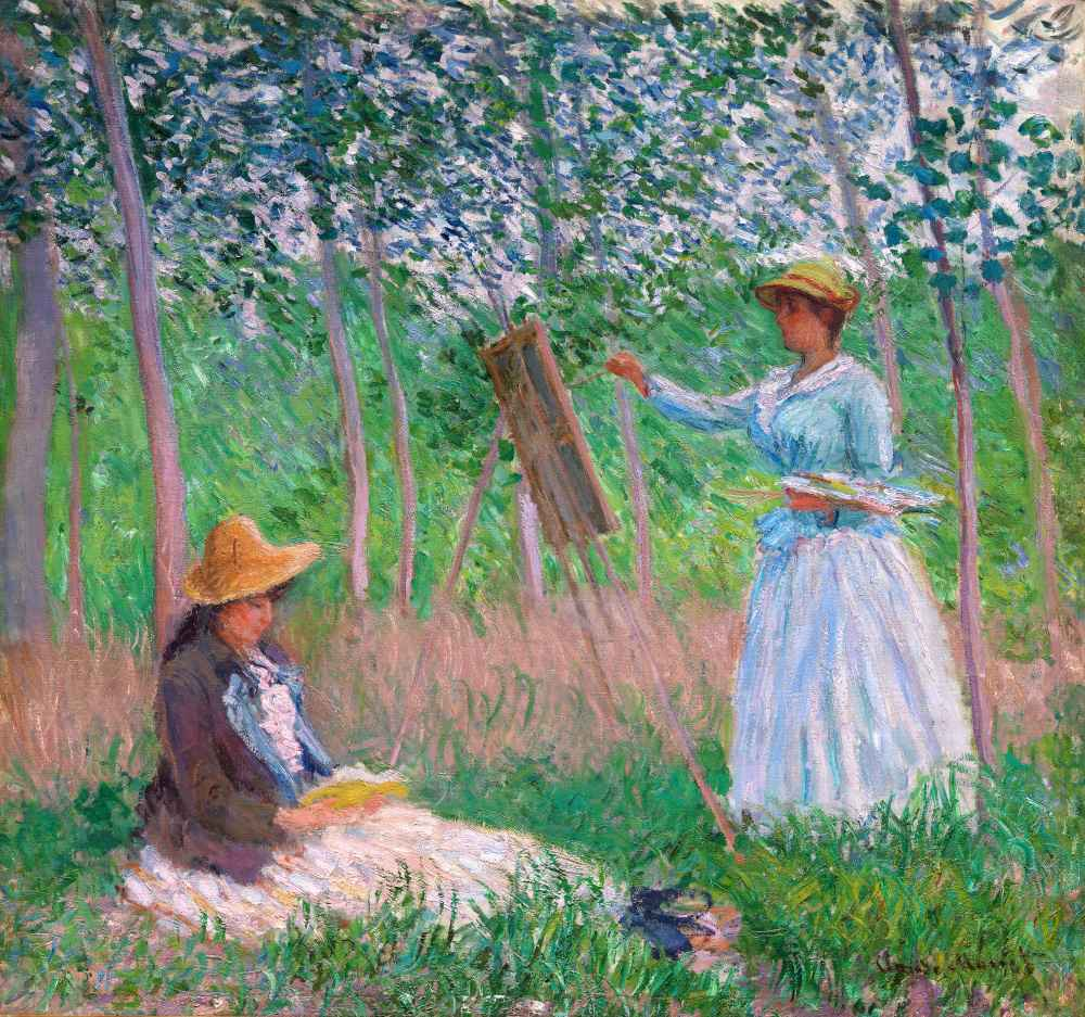 In the Woods at Giverny - Blanche Hoschedé at Her Easel with Suzanne H