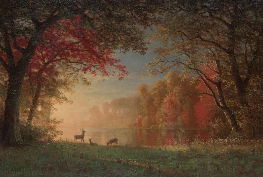 Indian Sunset - Deer by a Lake - Albert Bierstadt