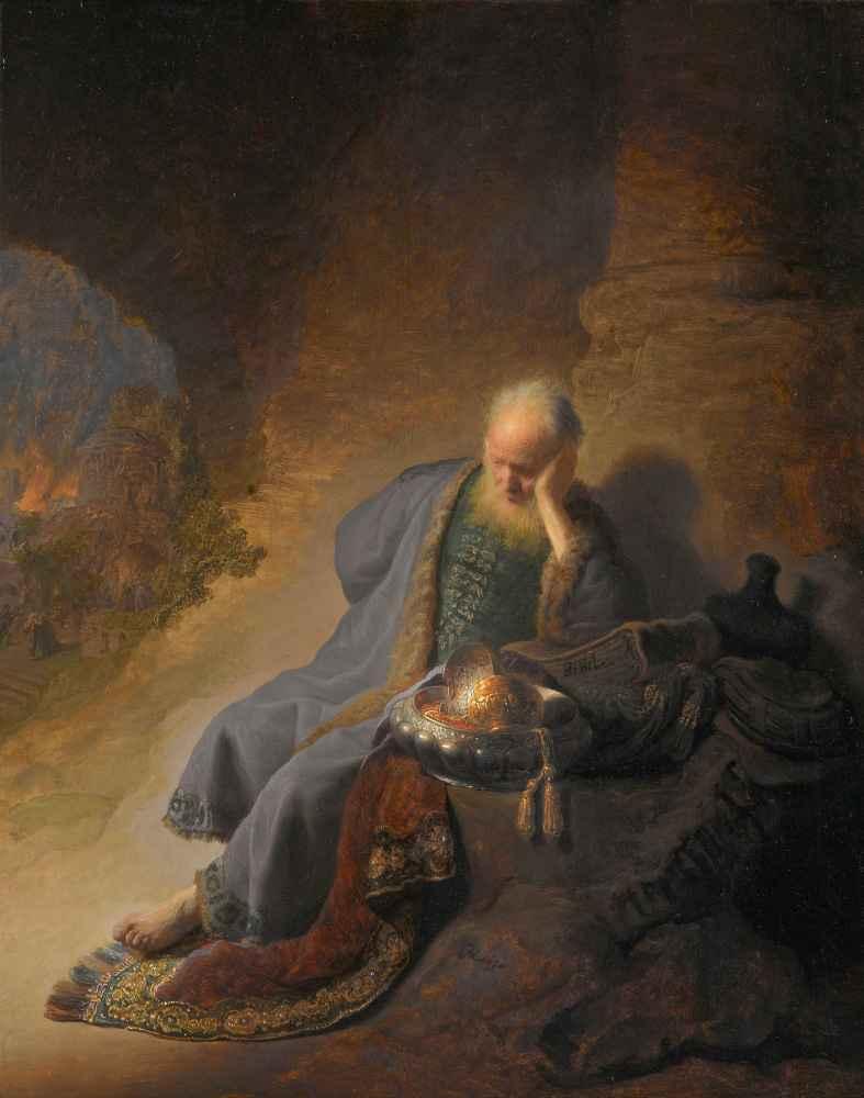 Jeremiah Lamenting the Destruction of Jerusalem - Rembrandt Harmenszoo