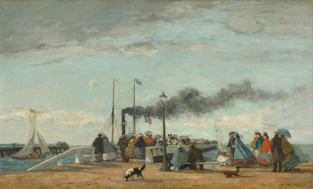 Jetty and Wharf at Trouville - Eugene Boudin
