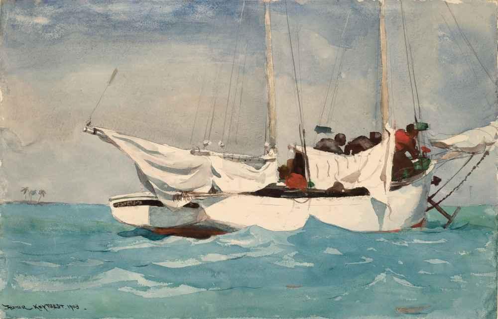 Key West, Hauling Anchor - Winslow Homer