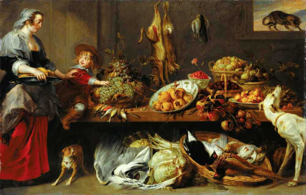 Kitchen Still Life with a Maid and Young Boy - Frans Snyders