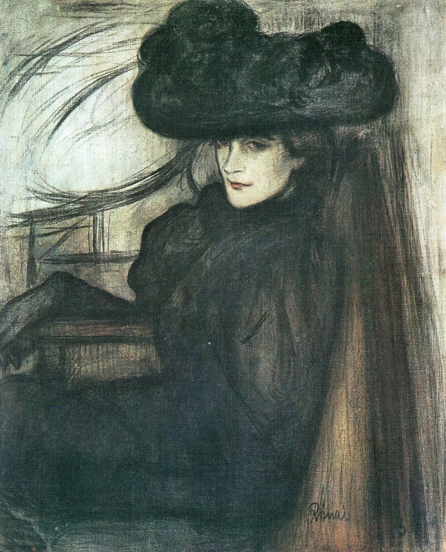 Lady with black veil - Joseph Rippl-Ronai