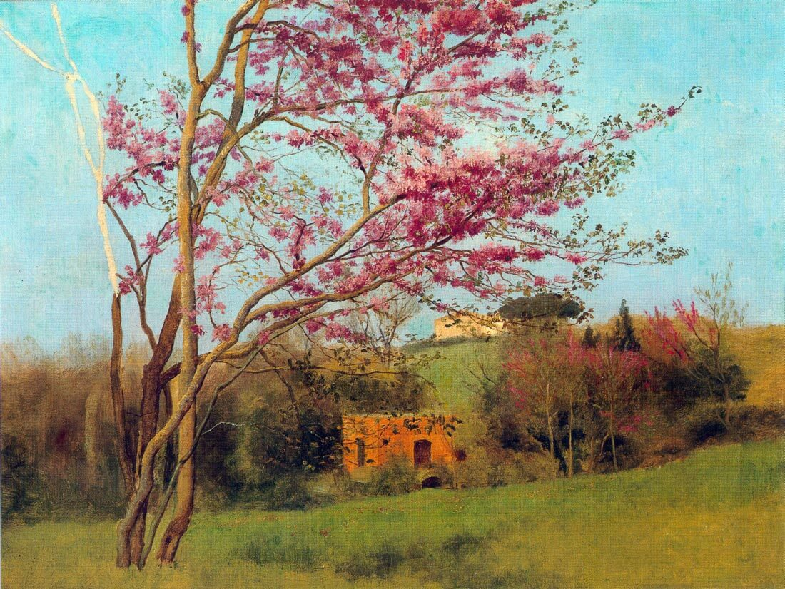 Landscape Blossoming Red Almond study - Godward