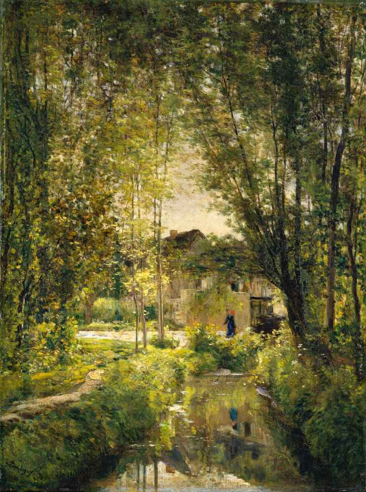 Landscape with a Sunlit Stream - Charles-Francois Daubigny