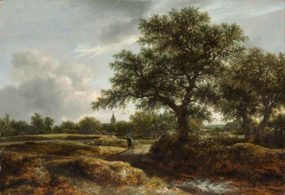 Landscape with a Village in the Distance - Jacob van Ruisdael