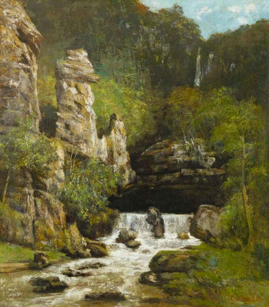 Landscape with a Waterfall - Gustave Courbet