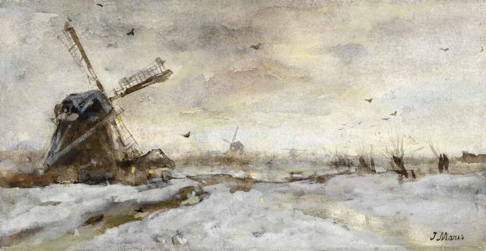 Landschap met molen in de sneeuw - Matthijs Maris
