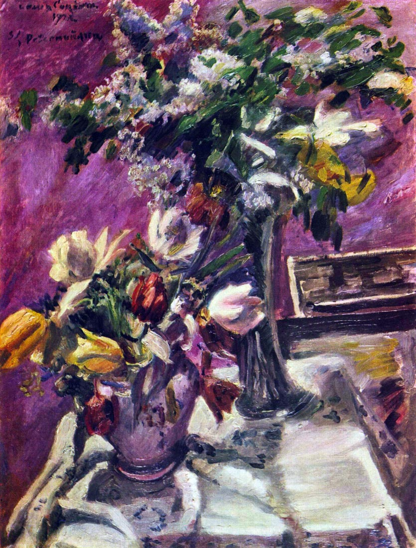 Lilac and tulips - Lovis Corinth