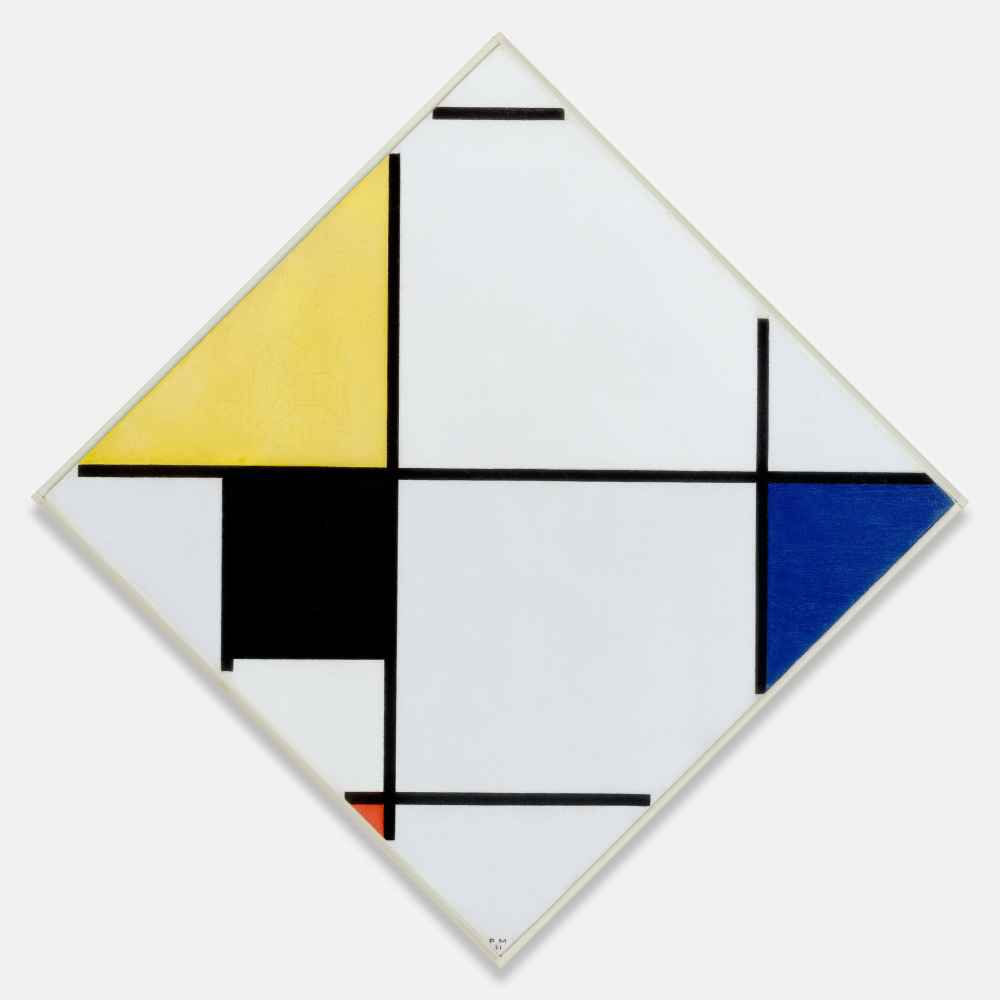 Lozenge Composition with Yellow, Black, Blue, Red, and Gray - Piet Mon