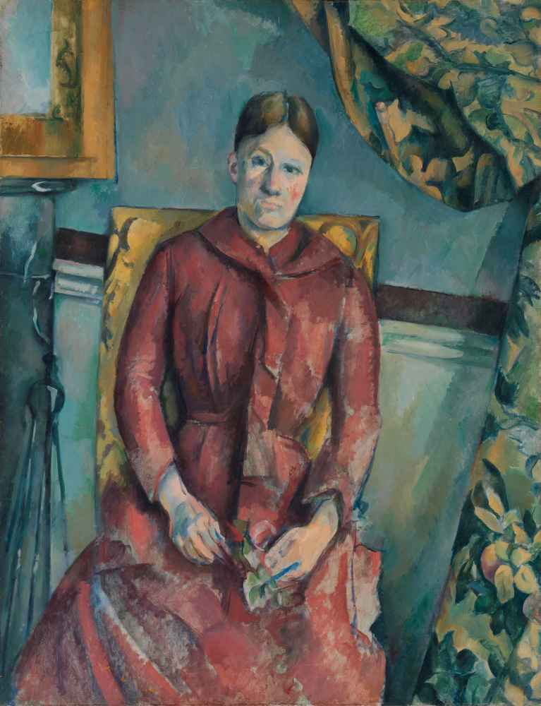 Madame Cézanne (Hortense Fiquet, 1850–1922) in a Red Dress - Paul Ceza
