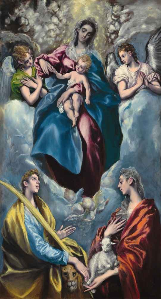 Madonna and Child with Saint Martina and Saint Agnes - El Greco