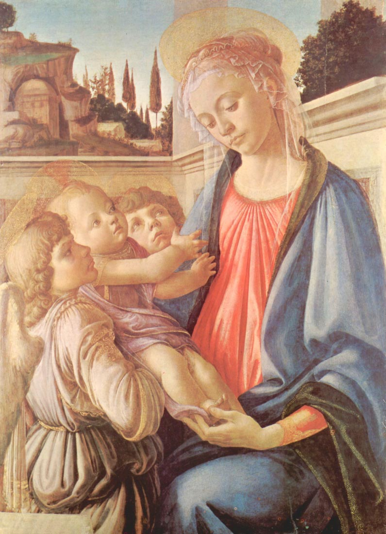 Madonna and two angels - Botticelli