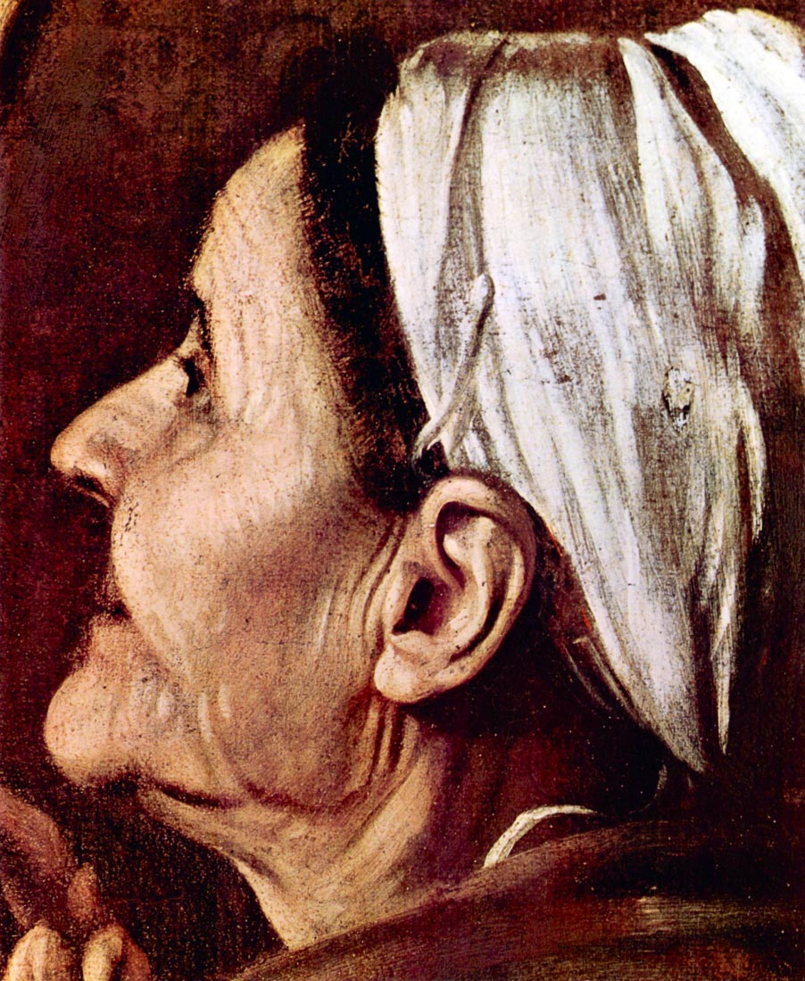 Madonna of the Pilgrims detail - Caravaggio