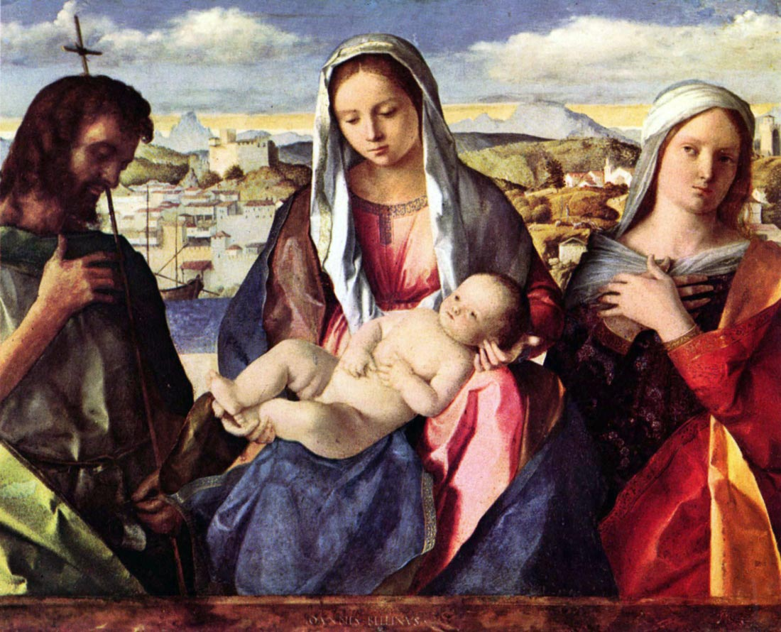 Madonna with John the Baptist and a saint - Bellini