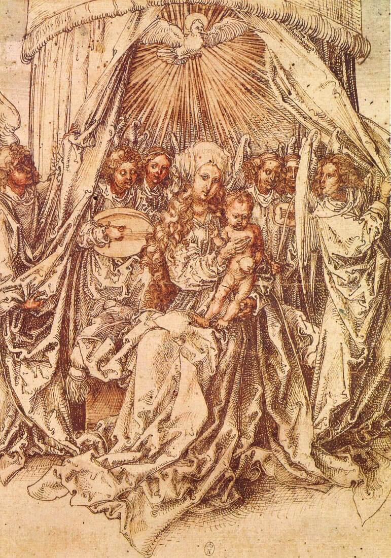 Madonna with angels under a canopy - Durer