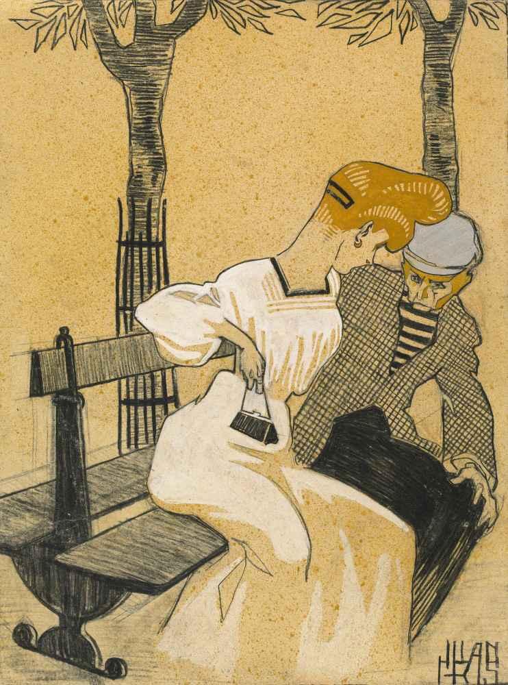 Man and Woman on Bench - Juan Gris
