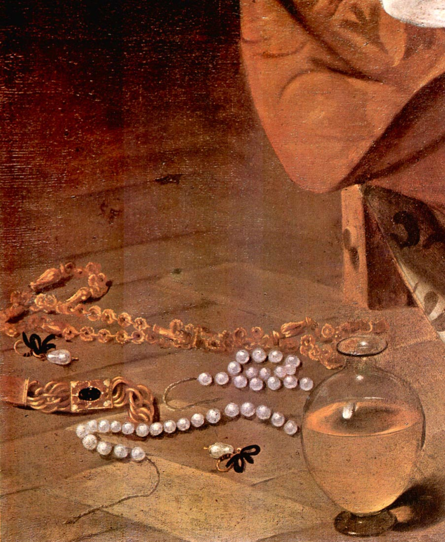 Mary Magdalene detail - Pearls - Caravaggio