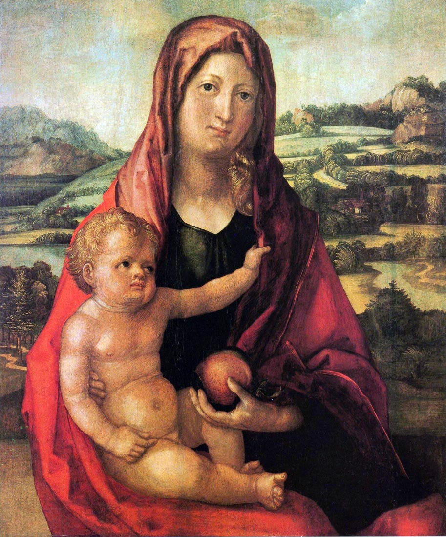 Mary with child against a landscape - Durer