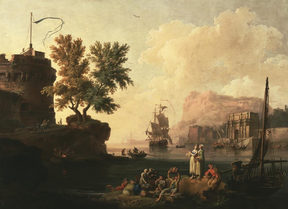 Mediterranean harbor scene - Claude Joseph Vernet